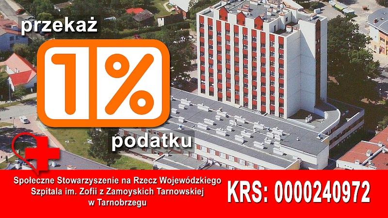 Przekaż 1 % podatku na rzecz Wojewódzkiego Szpitala im. Zofii z Zamoyskich Tarnowskiej w Tarnobrzegu